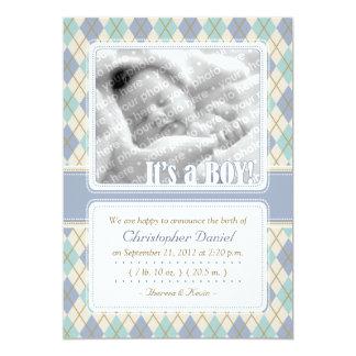 Argyle Birth Announcement (Blue & Aqua)