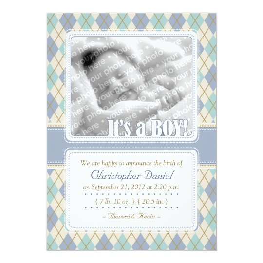 Argyle Birth Announcement (Blue & Aqua)