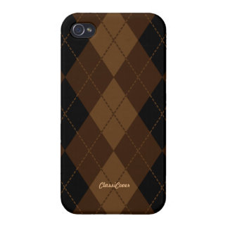 Argyle Black Brown Pattern Savvy iPhone 4/4S Covers