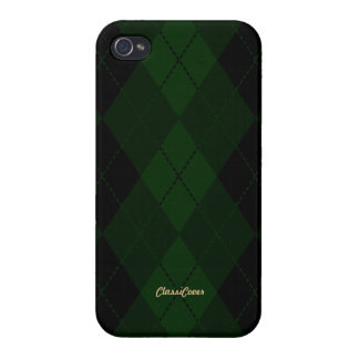 Argyle Black Green Pattern Savvy iPhone 4 Covers