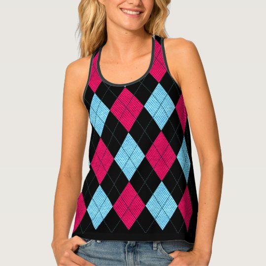 Argyle Blue and Pink Singlet
