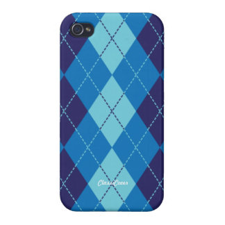 Argyle Blue Pool Pattern Savvy Cases For iPhone 4