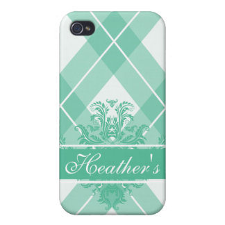 Argyle Caribbean Green iPhone 4/4S Covers