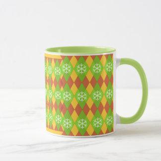Argyle Christmas Pattern Snow Flakes Mug