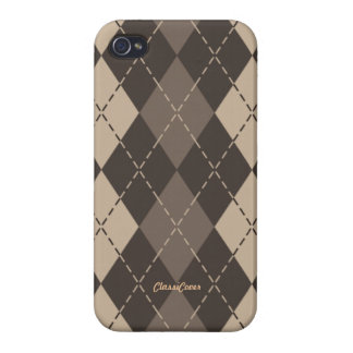 Argyle Coffee Foam Brown Pattern Savvy iPhone 4 Cover