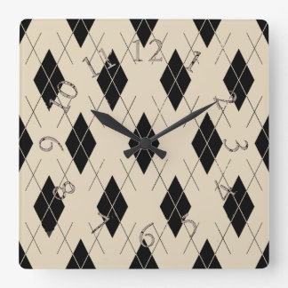 Argyle-Cream-Black-Classic--Multi-Shapes Square Wall Clock