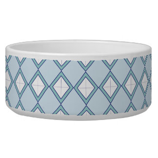 Argyle/Diamond Blue Dog Bowl