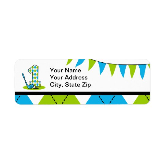Argyle Golf 1st Birthday Return Address Label