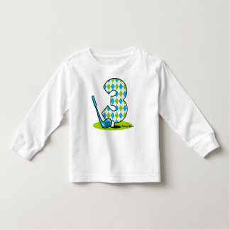 Argyle Golf 3rd Birthday Personalized Toddler T-Shirt