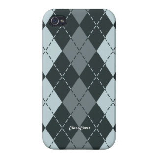 Argyle Gray Blue Pattern Savvy iPhone 4/4S Cover