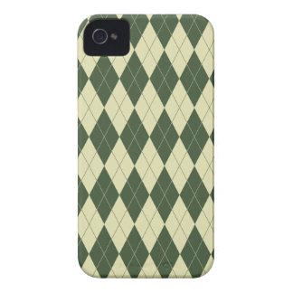 Argyle Green and White Cream Case-Mate iPhone 4 Case