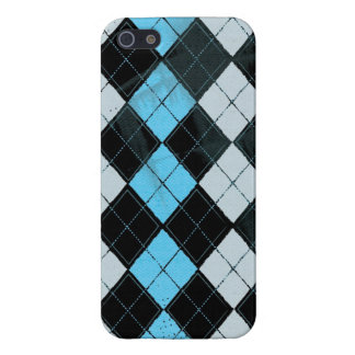 Argyle Grunge Blue iPhone 5 Case