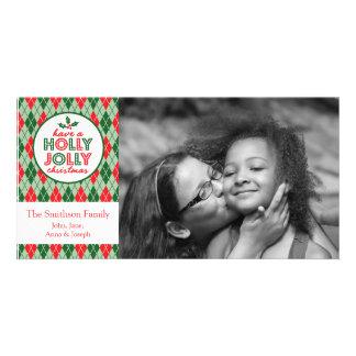 Argyle Have A Holly Jolly Christmas Photo Customized Photo Card
