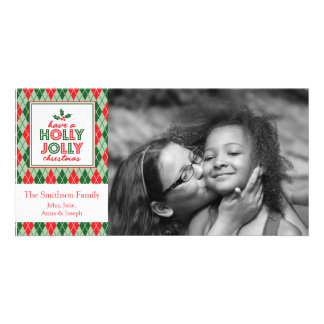 Argyle Have A Holly Jolly Christmas Photo Picture Card