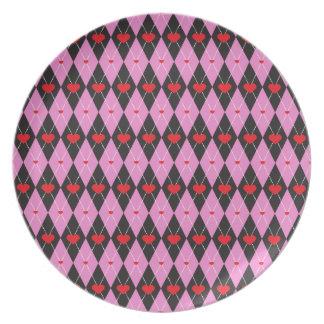 Argyle Heart pattern Dark Plates
