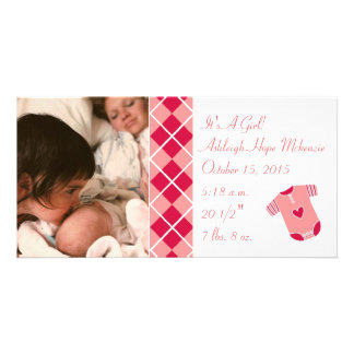 Argyle - It's A Girl... Our Precious Little Pearl Personalised Photo Card