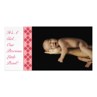 Argyle - It's A Girl... Our Precious Little Pearl Photo Cards