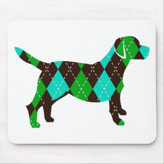 Argyle Labrador Dog Design (brown/blue/green) Mouse Pad