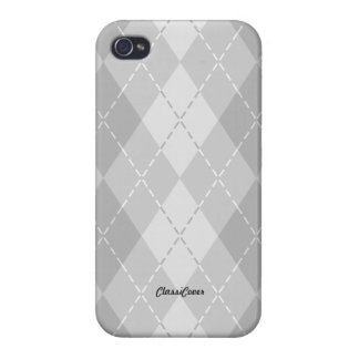 Argyle Light Gray Pattern Savvy iPhone 4/4S Covers