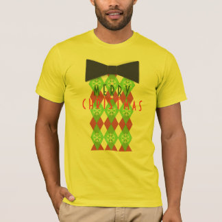 Argyle Merry Christmas Pattern Black Tie T-Shirt