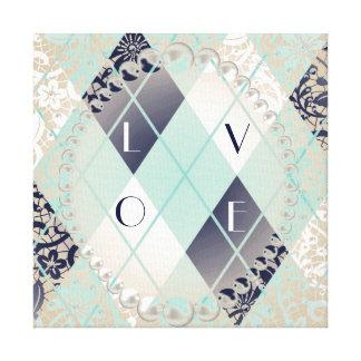 Argyle modern pattern teal navy blue preppy fun canvas print
