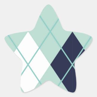 Argyle modern pattern teal navy blue preppy fun star stickers