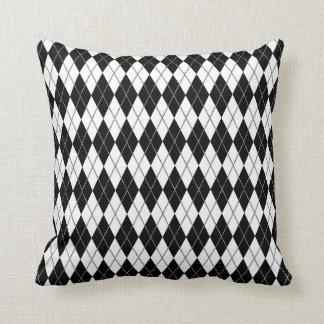 Argyle Pattern 1 Black and White Pillows