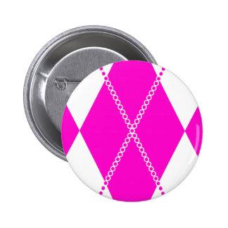 Argyle Pattern 1 Pink Button