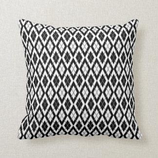 Argyle Pattern 2 Black and White Pillows