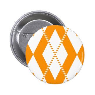 Argyle Pattern 2 Orange Pinback Buttons
