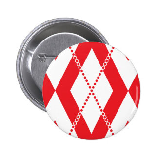Argyle Pattern 2 Red Pinback Buttons