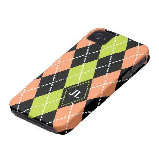 Argyle pattern black, coral, green monogram Case-Mate iPhone 4 cases