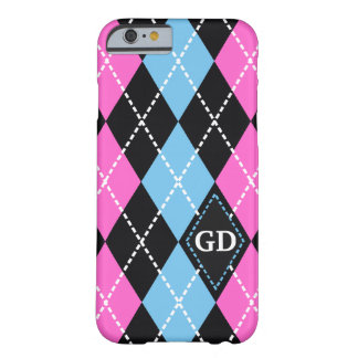 Argyle pattern black, pink, blue monogram barely there iPhone 6 case