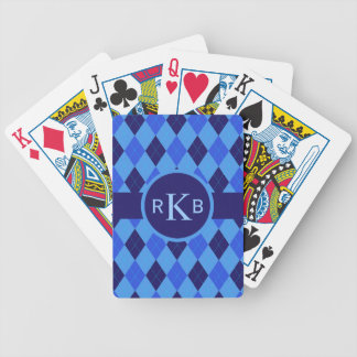Argyle pattern blue custom personalized initials bicycle playing cards