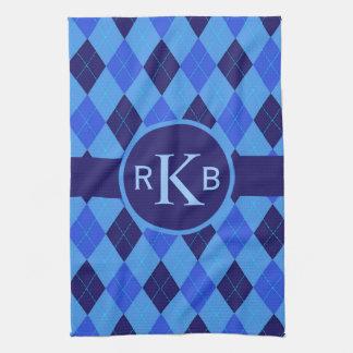 Argyle pattern blue custom personalized initials tea towel