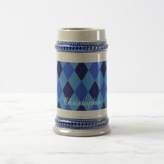 Argyle pattern blue custom personalized name beer stein