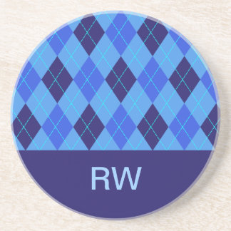 Argyle pattern blue personalised letter R  coaster