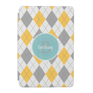 Argyle Pattern Gray Yellow - 9 Variations iPad Mini Cover