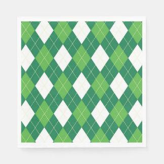 Argyle Pattern, Green and White Paper Napkin
