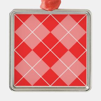 Argyle Pattern Image Silver-Colored Square Decoration