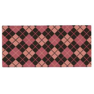 Argyle Pattern in Black and Pink Wood USB 2.0 Flash Drive