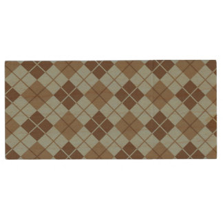 Argyle Pattern in Blue and Taupe Wood USB 2.0 Flash Drive