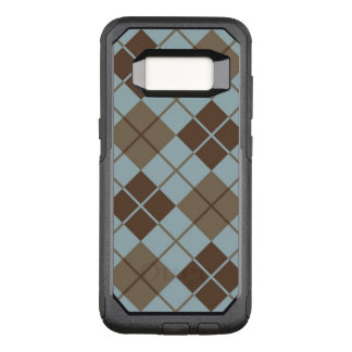 Argyle Pattern in Blue and Taupe OtterBox Commuter Samsung Galaxy S8 Case