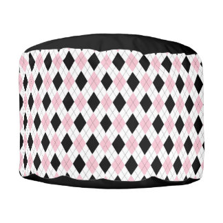 Argyle Pattern  Pink and Black Round Pouffe