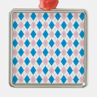 Argyle Pattern Silver-Colored Square Decoration