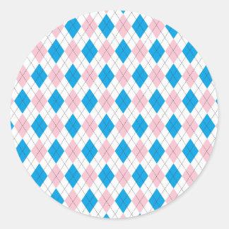 Argyle Pattern Round Sticker