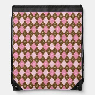Argyle Pink Diamonds Peace Love Pattern Rucksack