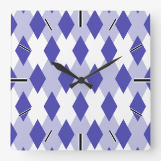 Argyle Plaid Pattern_4A46B0 Square Wall Clock
