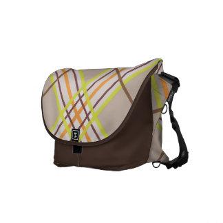 Argyle Plaid Retro Autumn on Brown Messenger Bag