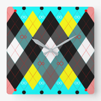 Argyle Revisited 7 Square Wall Clock